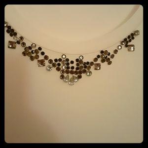 Ann Taylor cream L/S shell. Bead detail at collar.